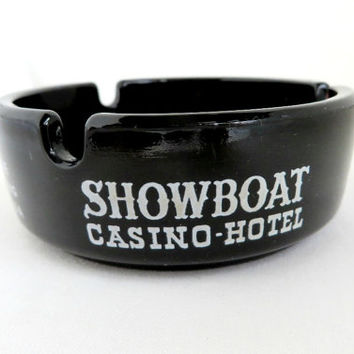 Las Vegas Ashtray, Vintage Showboat Casino Souvenir Glass Ashtray