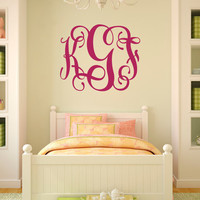 Fancy Vine Monogram Wall Decal, Teen Monogram Wall Decal, Fancy Girls Room Monogram, 3 Letter Vine Monogram, Dorm Room Monogram