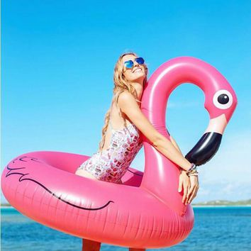 120CM Hot Sale Inflatable Flamingo Pool Toy Float Inflatable Pink Cute Ride-On Pool Swim Ring for Water Holiday Fun Party