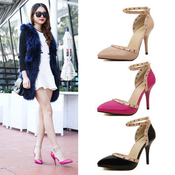 Summer Ankle High Heel Korean Pointed Toe Rivet Shoes [6044950593]