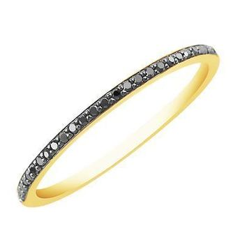 Black Diamond Band Ring - 14k Yellow Gold plated