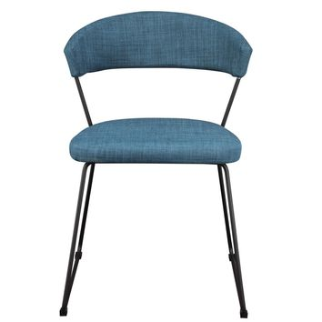Adria Dining Chair Blue (Set Of 2) 100% Polyester Metal Legs