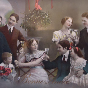 Antique french postcard - Christmas, new year card, family toast, hand tinted, edwardian victorian, rppc 1920, vintage postcard
