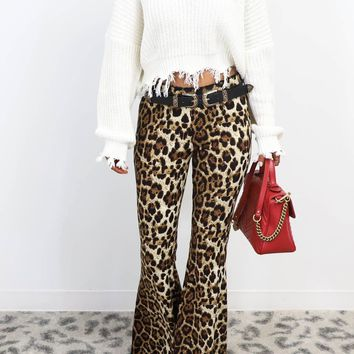 Another Wave Leopard High Waist Bell Bottom Pants