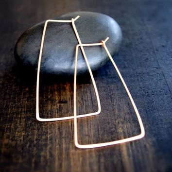 Trapezoid Hoop Earrings - Silver and Gold