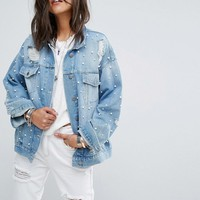 Free People Pearl Embellished Trucker Denim Jacket at asos.com