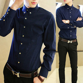 Men Casual Slim Fit Dress Shirt
