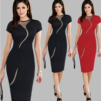 Short Sleeve Mesh Accent Midi Bodycon Dress