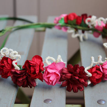 Red flower crown, wedding flower crown, floral crown, festival crown, flower girl halo,rustic flower crown,flower headpiece,hair wreath
