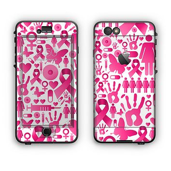 The Pink Collage Breast Cancer Awareness Apple iPhone 6 LifeProof Nuud Case Skin Set