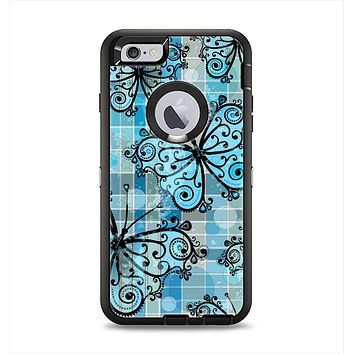 The Vibrant Blue Butterfly Plaid Apple iPhone 6 Plus Otterbox Defender Case Skin Set