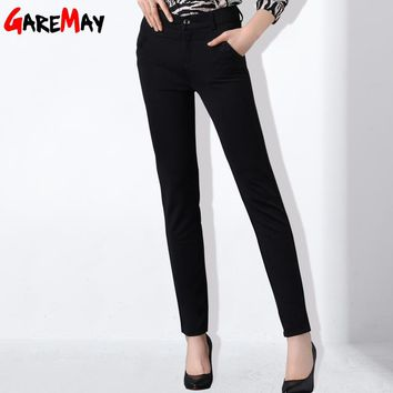 Women Pants High Waist Pantalon Mujer Work Wear Large Size Pants With Elastic Office Long Pants For Women Clothing GAREMAY