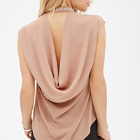 LOVE 21 Rhinestoned-Collar Crepe Top Deep Taupe