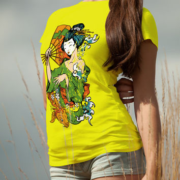 Colorful Geisha Hand Drawn T Shirt Tee Design Birthday Last Second Gift For Her Girlfriend Present , Women , Girls , Mother Mothers Day Top