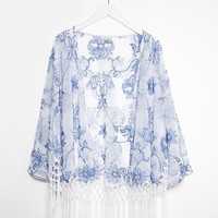 River Island China Blue Embroidered Cropped Boxy Cape