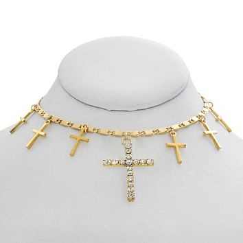 Crystal Crosses Choker