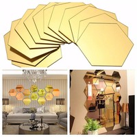 12Pcs/Set Hexagonal 3D Mirror Wall Stickers Restaurant Aisle Floor Personality Decorative Mirror Paste Living Room Sticker