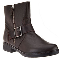 Clarks Leather Ankle Moto Boots with Buckle - Merrian Lynn - A270269 — QVC.com