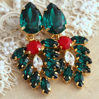 Red Green Chandelier earrings, Christmas Gift,  Bridal wedding Chandelier earrings, Ruby Emerald Swarovski earrings, Green Red jewelry