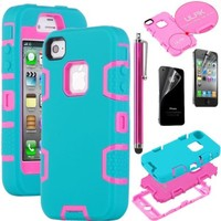 iPhone 4S Case, iPhone 4 Case, Hybrid Shockproof Dirt Proof Durable Case Cover for iPhone 4 / iPhone 4S with Screen Protector and Stylus (Rose Pink+Blue)