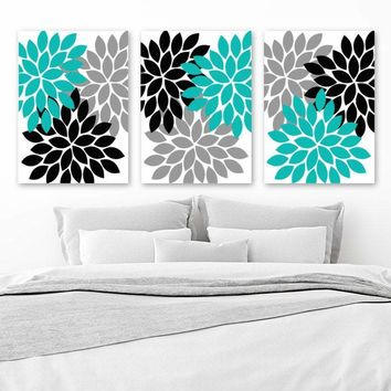 Turquoise Black Gray Wall Art, Flower Wall Decor, Bedroom Canvas or Prints Bathroom Decor, Flower Pictures, Flower Burst Dahlia Set of 3