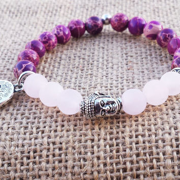 INNER HEALING Rose Quartz Buddha Bracelet Yoga Women Meditation Bracelet Tree Of Life Bracelet Calming Purple Sea Sediment Bracelet