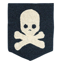 Large Chenille Skull Pocket Patch 11.5cm Applique