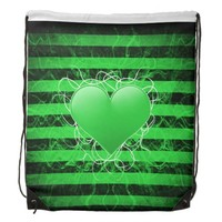 Gothic punk emo green heart with black stripes
