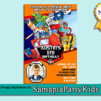 Autobots Rescue Rising With Photo Birthday invitation