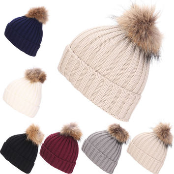Women Winter Hat Faux Raccoon Fur Pom Wool Knit Baggy Crochet Beanie Ski Cap Hot-Y107