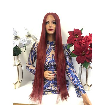 """Red Multi Parting Frontal SWISS Lace Wig 