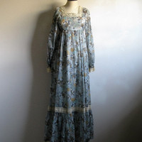 Boho Chiffon Floral 70s Dress Vintage 1970s Blue-Gray Crochet Lace Maxi Ruffle Dress Small