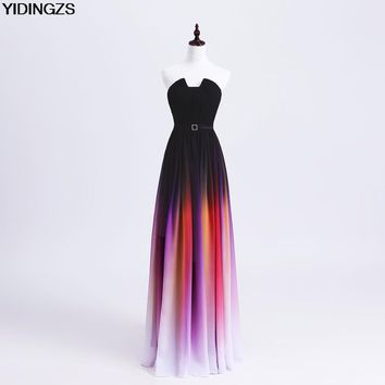 YIDINGZS Simple Gradient Color Pleat Chiffon Long Prom Dresses Formal Evening Party Dress