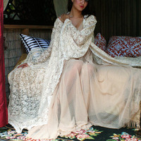 Bridal Robe Wedding Lingerie Ivory Lace Robe Bridal Sleepwear Angel Sleeve Boudoir Trousseau Sarafina Dreams 2012 Bridal