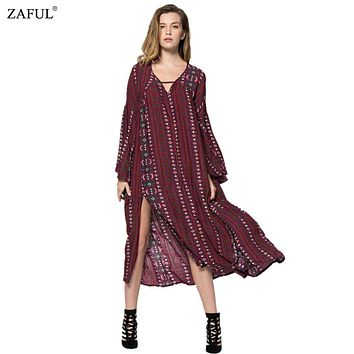 ZAFUL 2017 Autumn Summer dress Women Vintage Ethinc Print Long Sleeve V Neck Split Hem Bohemian Long Maxi Dresses Vestidos