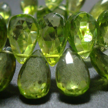 6 pcs Genuine Faceted Peridot Pear Briolette 9-10mm