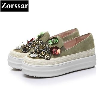 {Zorssar} 2018 high quality Kid Suede womens flats shoes Fashion bling woman loafers casual slip-on women flat platform shoes
