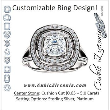 Cubic Zirconia Engagement Ring- The Chaunte (Customizable Cathedral-set Cushion Cut Design with Double Halo, Wide Split-Pavé Band and Side Knuckle Accents)