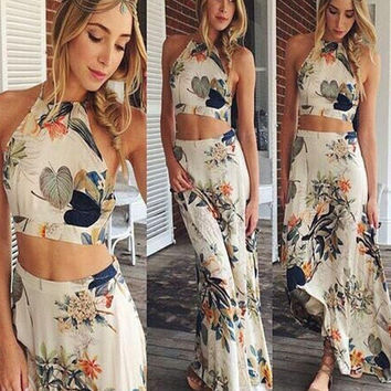New Summer Fashion Style Print Women Maxi Sleeveless Dress Casual High Waist Fashion Long 2 Piece Dress = 1956682244