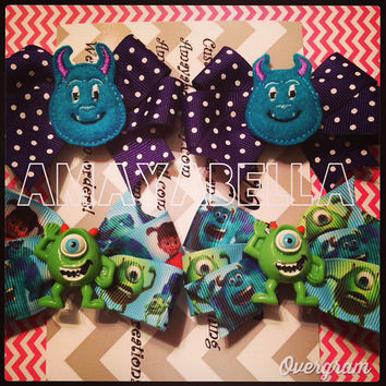 READY TO SHIP Sale Monster pigtail bows Mike and Sully