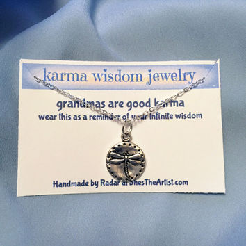Silver Firefly Necklace Karma Wisdom Jewelry With Quote -grandmas are good karma- 925 Silver Necklace Dragonfly Personalized Gifts