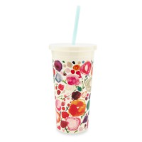 Floral Tumbler with Straw