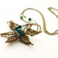 Teal and Antiqued Brass Woven Flower Necklace, Gifts under 30