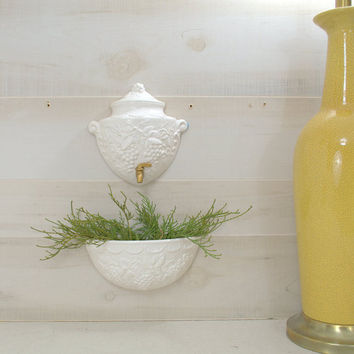 White Ceramic Planter Wall Decor, Vintage Japan Enesco Gilded Fountain and Wall Pocket, Grape Decor