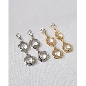 Crystal Accented Twin Floral Danglers