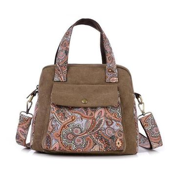 Lady Vintage Canvas Floral Print Tote Shell Handbags