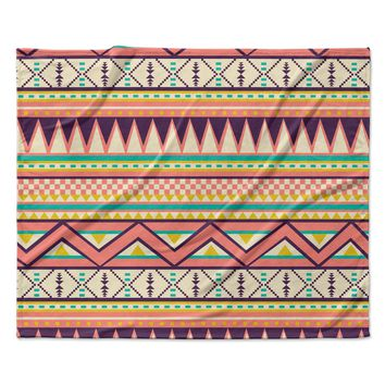 "Louise Machado ""Ethnic Love"" Tribal Geometric Fleece Throw Blanket"
