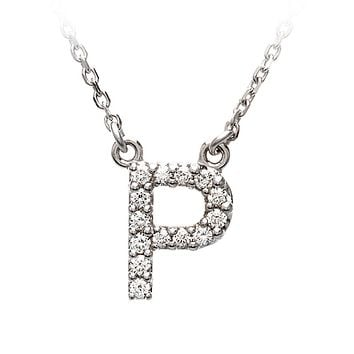 1/8 Cttw G-H, I1 Diamond initial Necklace in 14k White Gold, Letter P