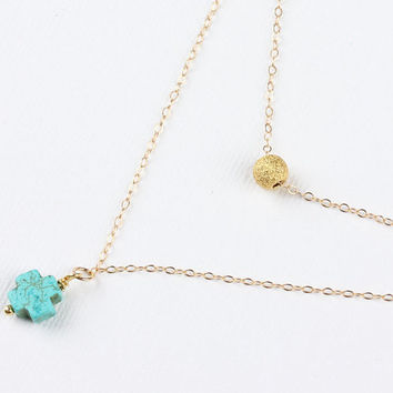 "Gold cross necklace, turquoise cross necklace,layering necklace, tiny charm necklace,turquoise pendant,14k gold,layered necklace, ""Ephyra"""