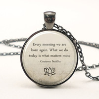 Buddha Quote Necklace, Motivational Wisdom Pendant, Inspirational Yoga Jewelry = 1933117828